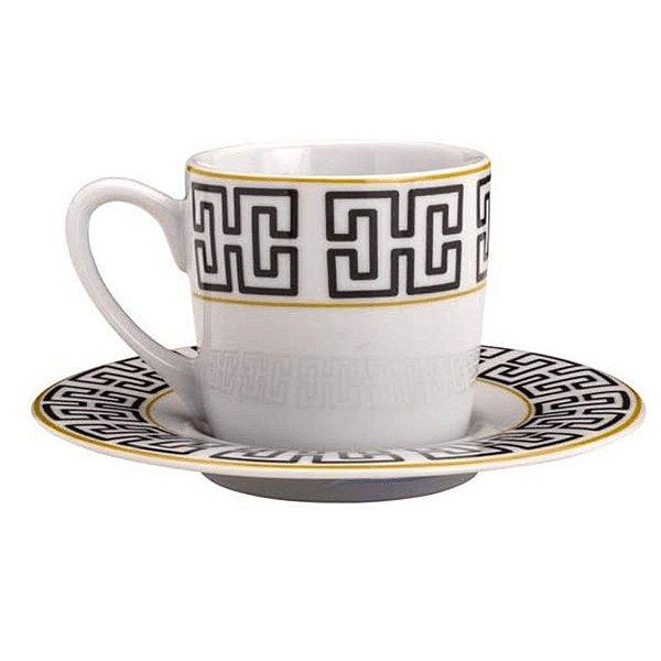Conjunto 6 Xicaras Cafe 90ml de Porcelana com Pires Egypt