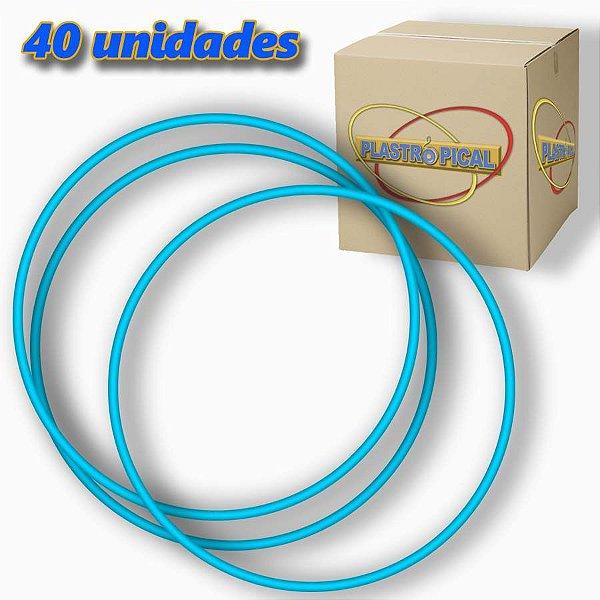 Caixa de Bambolê Infantil Plastico Reforçado Azul Claro 50cm C/ 40 Unidades
