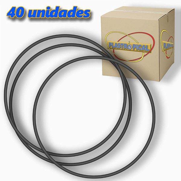 Caixa de Bambolê Infantil Plastico Reforçado Preto 50cm C/ 40 Unidades