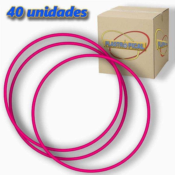 Caixa de Bambolê Grande Plastico Reforçado Rosa Escuro 65cm C/ 40 Unidades
