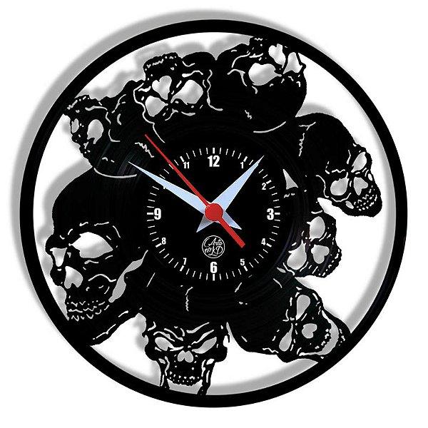 Relógio de Vinil - Crânios Dark