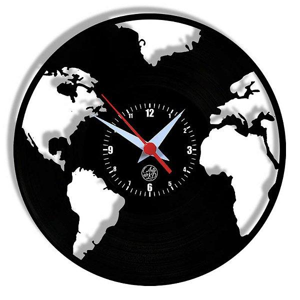 Relógio de Vinil - Mapa Mundi