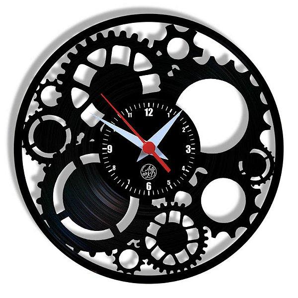 Relógio de Vinil - Engrenagens
