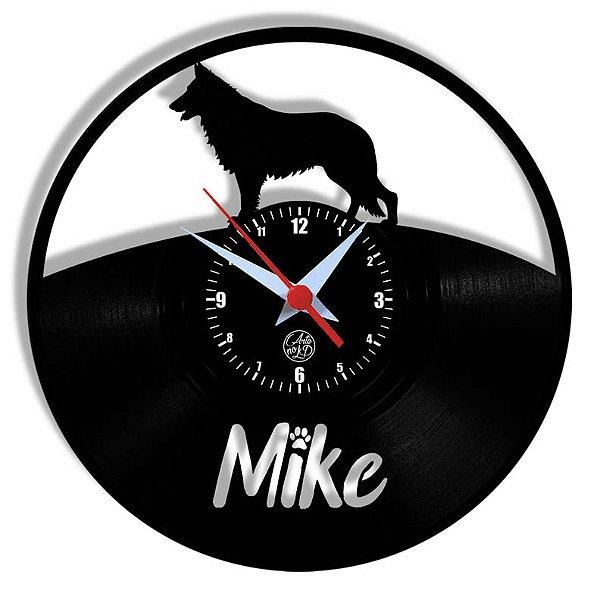 Relógio de Vinil - Cachorro Pastor Alemão Nome