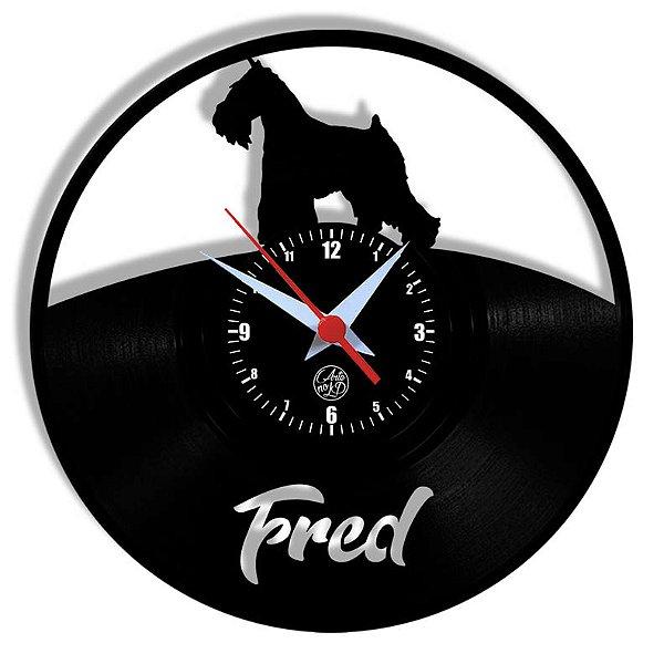 Relógio de Vinil - Personalização Cachorro Schnauzer