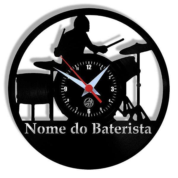 Relógio de Vinil - Baterista Personalização