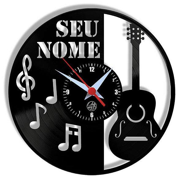Relógio de Vinil - Violão Com Notas Personalização