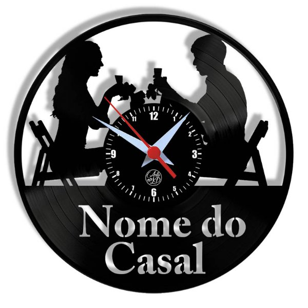 Relógio de Vinil - Casal Jantando