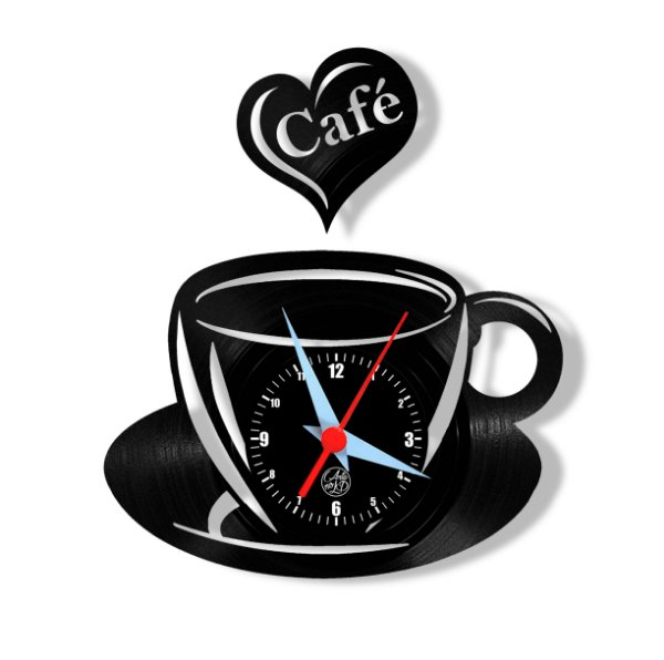 Relógio de Vinil - Xícara Com Coração Cozinha