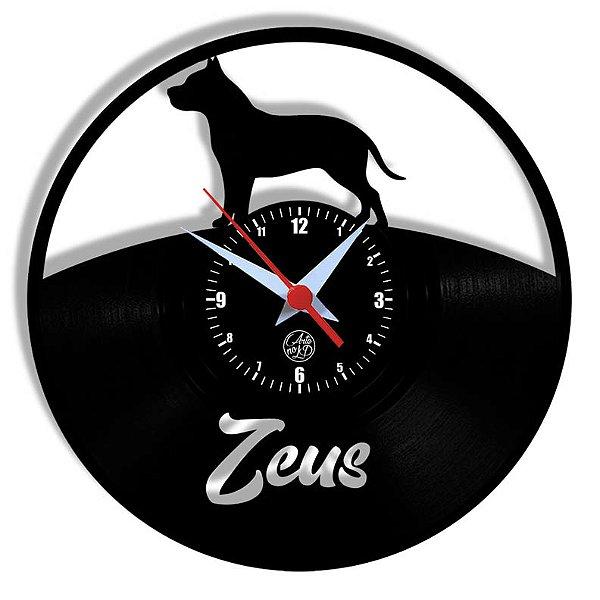 Relógio de Vinil - Cachorro Pitbull Personalização