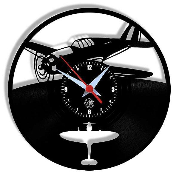Relógio de Vinil - Avião Segunda Guerra