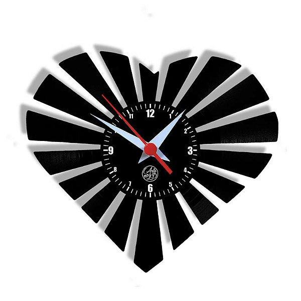 Relógio de Vinil - Coração