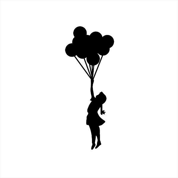 Adesivo - Menina Balões Diversos