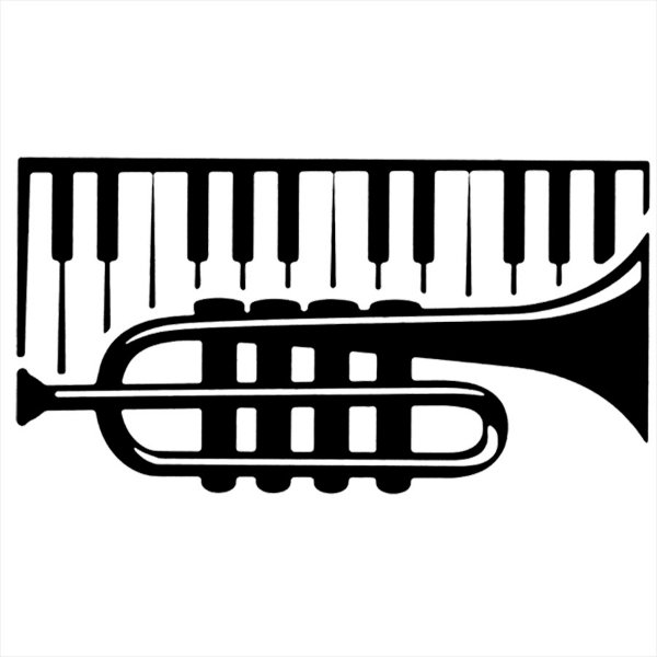 Adesivo - Piano com Trompete Música