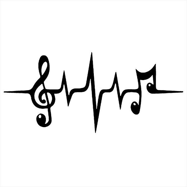 Adesivo - Notas Musicais em Frequência Música
