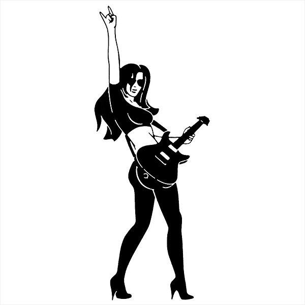 Adesivo - Menina Rock Música