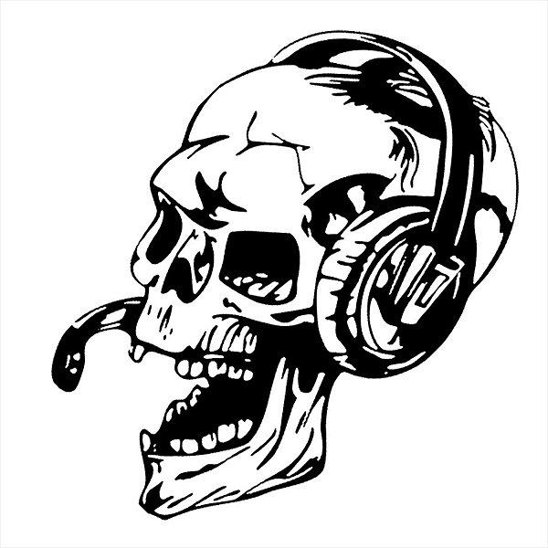 Adesivo - Crânio Fone Música