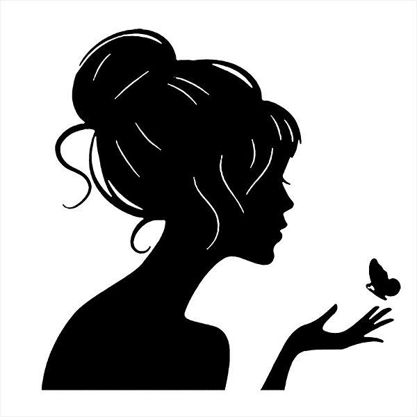 Adesivo - Mulher com Borboleta Natureza