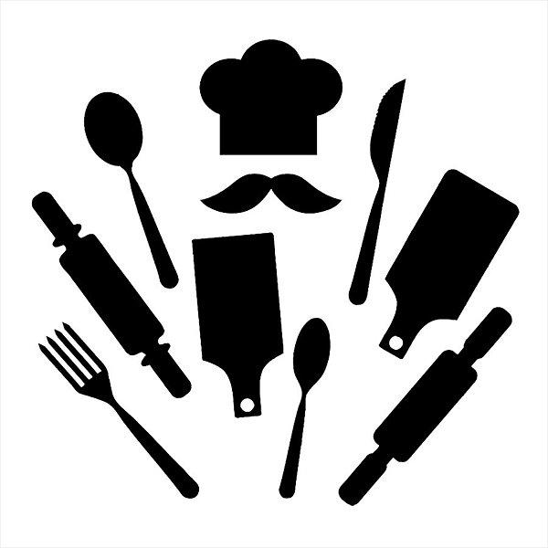 Adesivo - Talheres E Mestre Cuca Cozinha