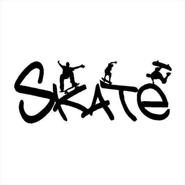 Adesivo - Palavra Skate Com Skatistas Esporte