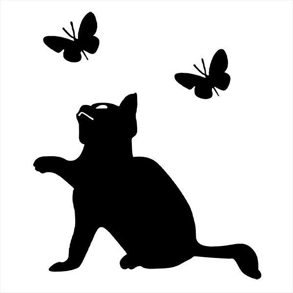 Adesivo - Gatinho Querendo Pegar Duas Borboletas Pets