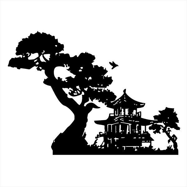 Adesivo - Casa Arquitetura AsiTica Árvore Pássaro Paisagem Profissões