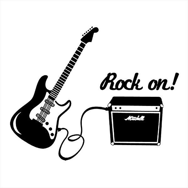 Adesivo - Guitarra Elétrica Com Caixa Amplificadora Rock On Música