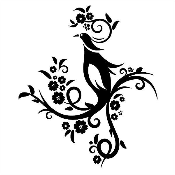 Adesivo - Pássaro E Flores Curvas E Detalhes Natureza