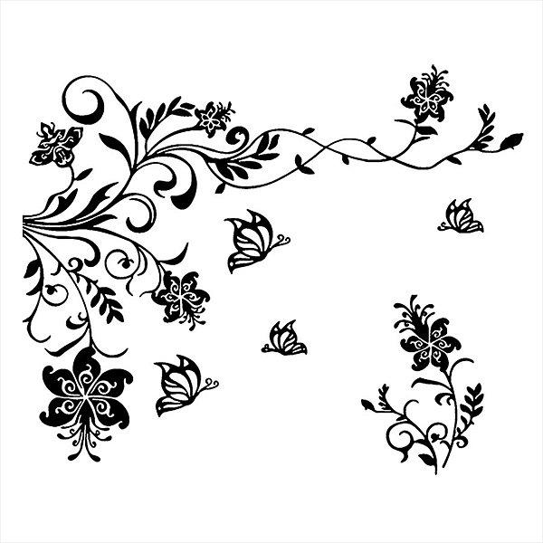 Adesivo - Flores, Folhas E Borboletas Natureza