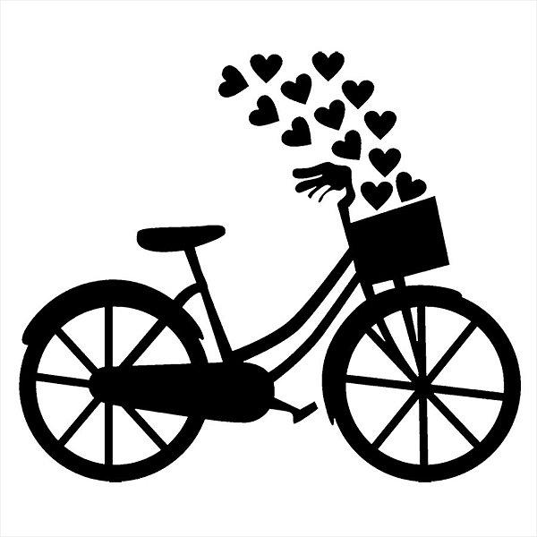 Adesivo - Bike Bicicleta Com Cesto E Corações Amor