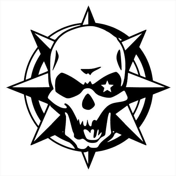 Adesivo - Caveira Crânio Com Estrelas Terror Cinema