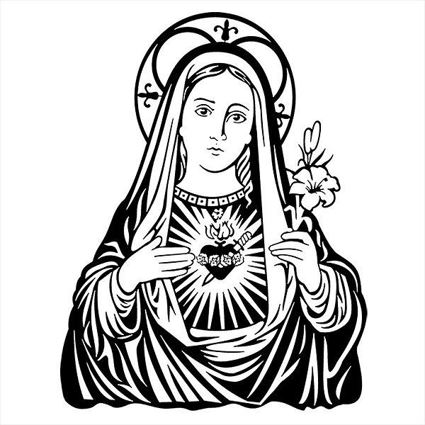 Adesivo - Virgem Maria Santa Imaculada Coração Religião