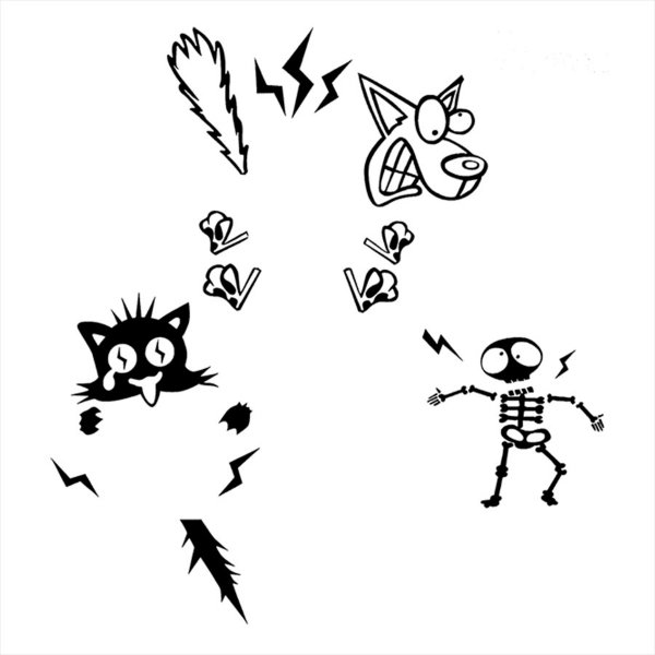 Adesivo - Choque Elétrico Cachorro Gato Pessoa Esqueleto Desenho