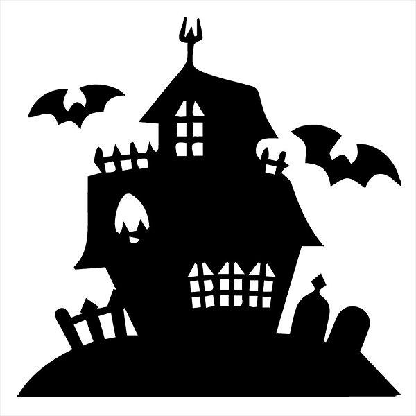 Adesivo - Casa Mal-Assombrada Morcegos Haunted House Terror Cinema