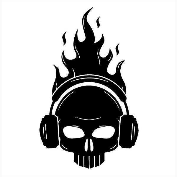 Adesivo - Caveira Com Fone De Ouvidos E Chamas Terror Cinema