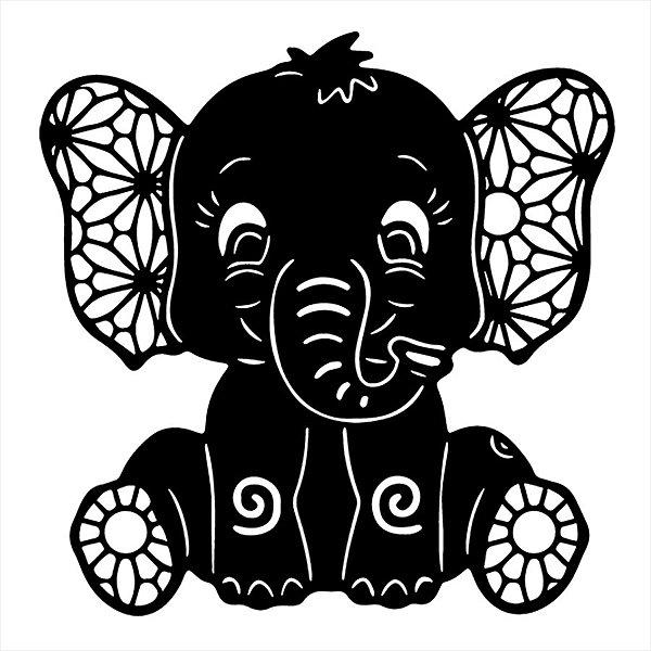 Adesivo - Elefante Filhote Fofo Flores Detalhes  Natureza