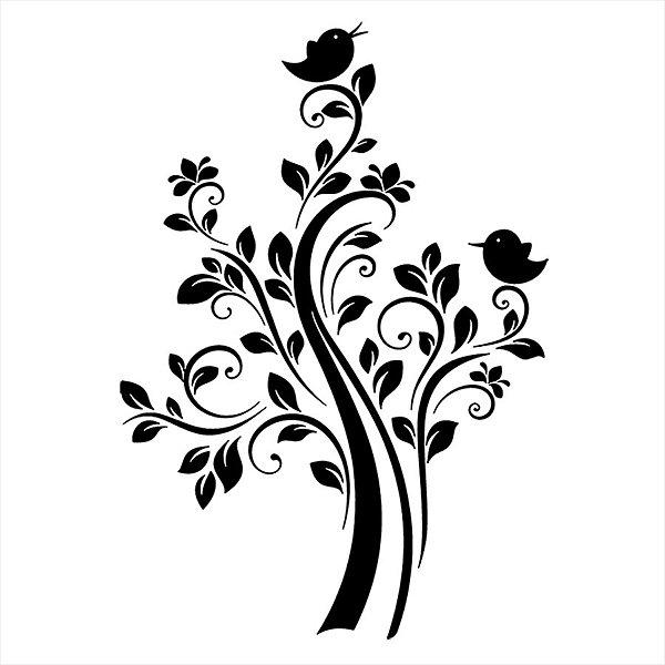 Adesivo - Pássaros Em Árvore Com Folhas E Flores Natureza
