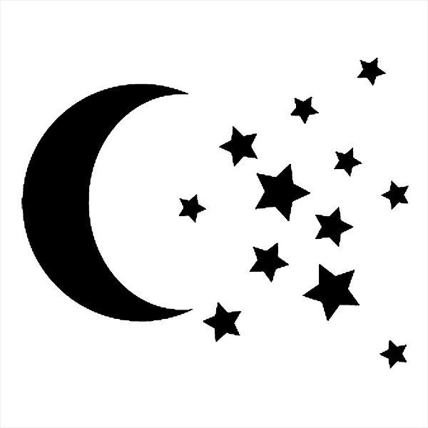 Adesivo - Céu Noturno Lua Minguante E Estrelas Moon & Stars Night Sky Natureza