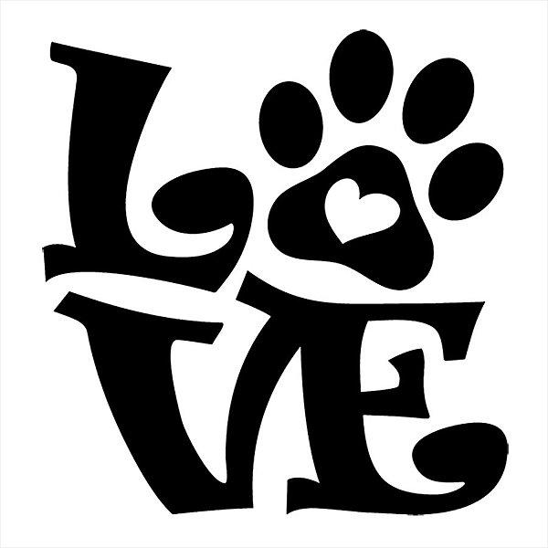 Adesivo - Love Dog Paw Heart Pata De Cachorro Coração Pets