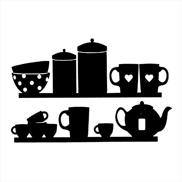 Adesivo - Prateleira Da Cozinha Xícaras Canecas Potes E Tijelas Cozinha