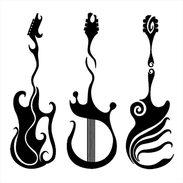 Adesivo - Três Guitarras Ondulações Electric Guitars Música
