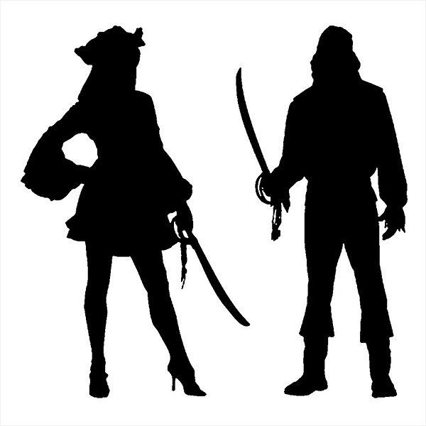 Adesivo - Piratas Com Espadas Pirates With Swords Man & Woman Pessoas
