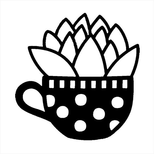 Adesivo - Cactus Cacto Envasado Planta Xícara Cup Mug Vase Natureza