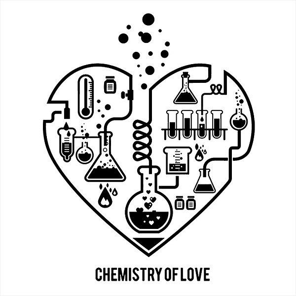 Adesivo - Heart Chemistry Love Coração Química Ciência