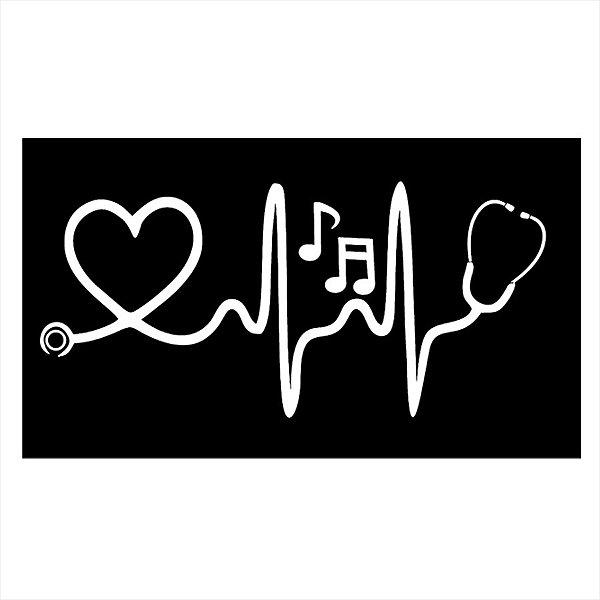 Adesivo - Heartbeat Batimento Amor Fundo Preto Desenho