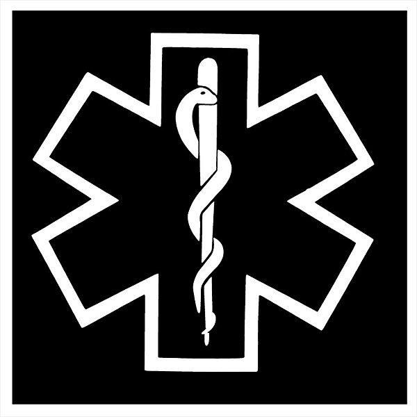 Adesivo - Bastão Esculápio Medicina Fundo Preto Profissões