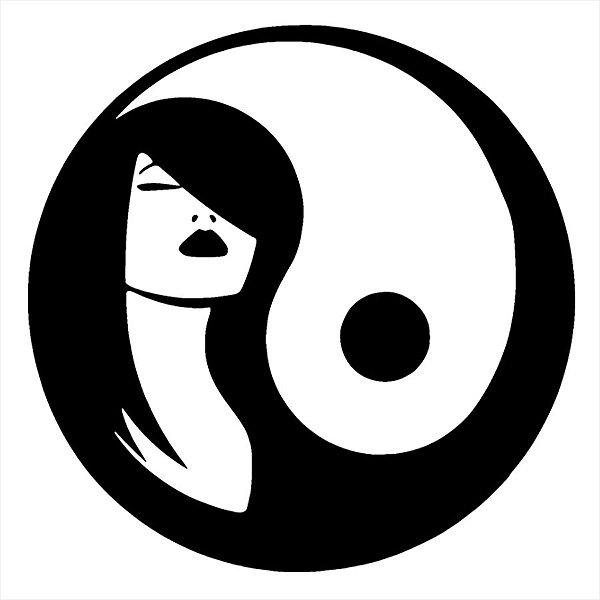 Adesivo - Yin Yang Equilibrio Mulher Woman Desenho