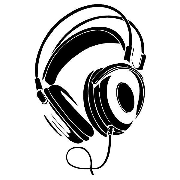 Adesivo - Headphones Fones Music Música Música