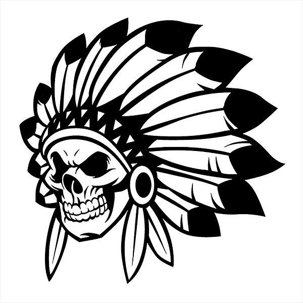 Adesivo - Indian Chief Roalty Mascot Skull Esporte