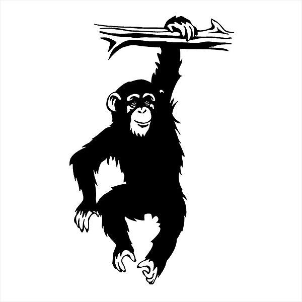 Adesivo - Macaco Pendurado Em Um Galho De Árvore Desenho